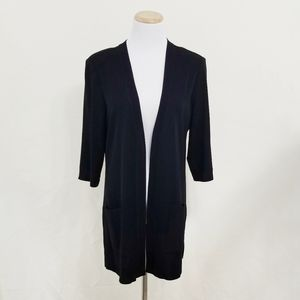 Misook black cardigan open front solid simply chic